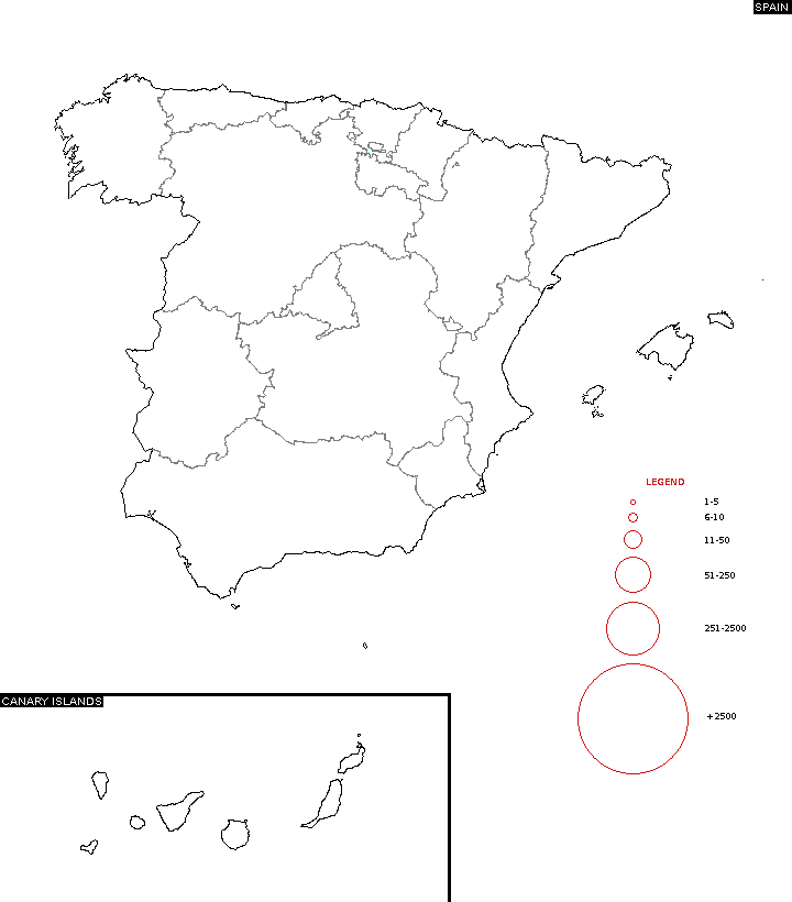 Distribution of surname - Spain Surname Map